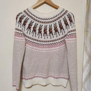 Alpaca-blend Christmas Reindeer Sweater